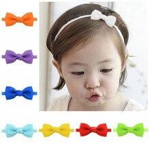 5273dc6b25b5c Kids Small Cute Grosgrain Ribbon Bow Tie Headband Girls DIY Bowknot Elastic  Thin Head Bands Hairbands
