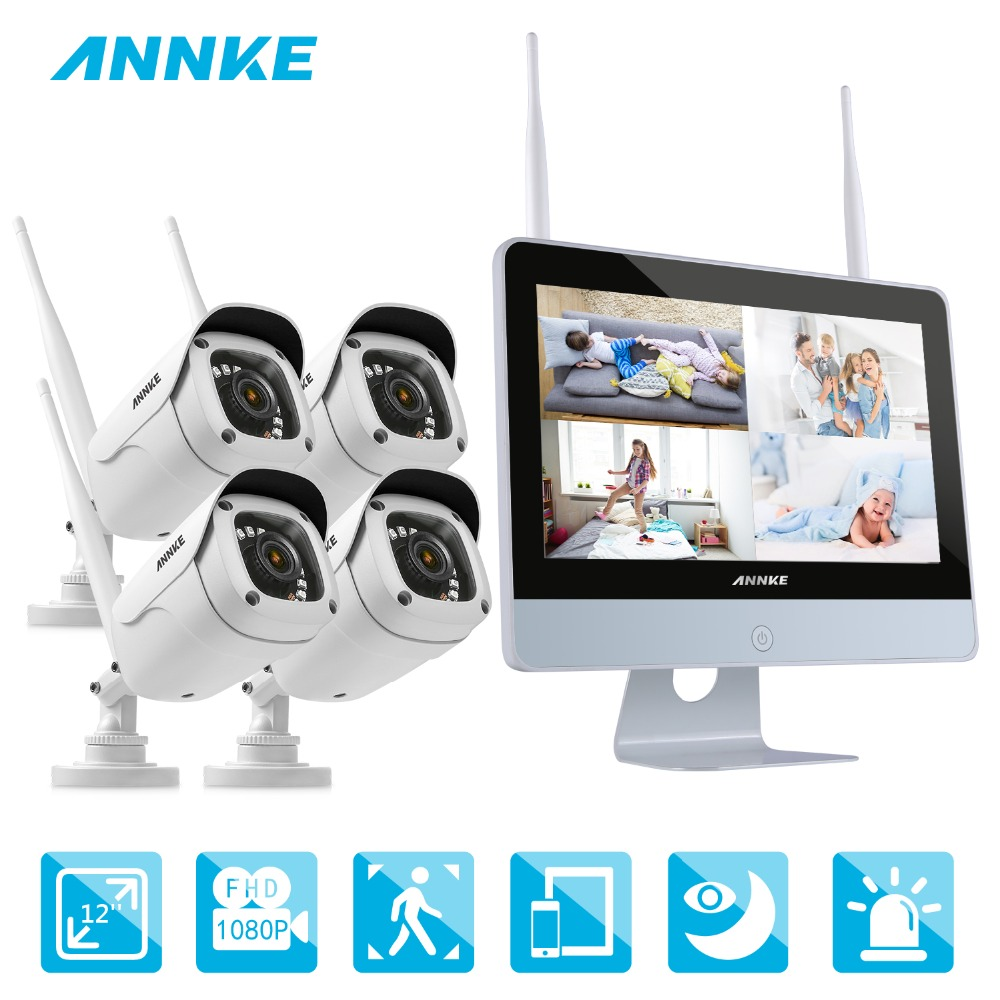 ANNKE 4CH 1080P FHD WiFi NVR Video Surveillance System 12inch HD LCD Screen Automatic Screen Saver 1080P HD Bullet IP CamerasANNKE 4CH 1080P FHD WiFi NVR Video Surveillance System 12inch HD LCD Screen Automatic Screen Saver 1080P HD Bullet IP Cameras
