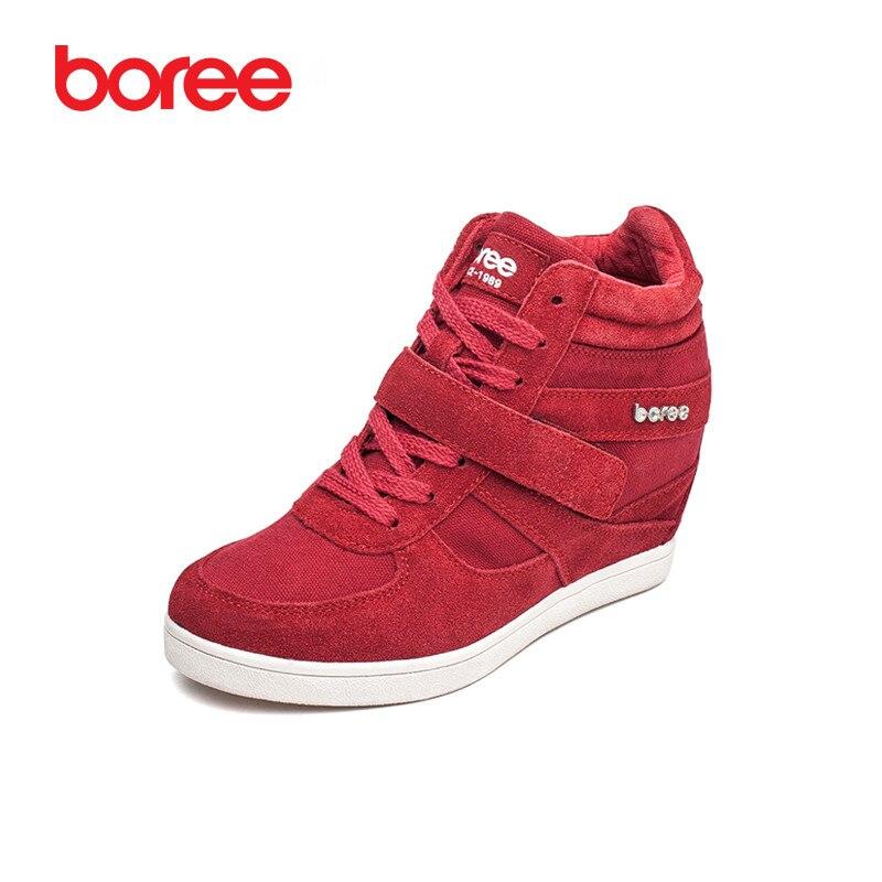 Boree/женская модная повседневная обувь, увеличивающая рост, из дышащей коровьей замши, на липучке, красного цвета, с высоким берцем, Mujer Zapatos ...