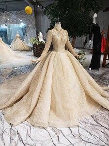 Image 2 - LS20329 זהב מוסלמי שמלות כלה גבוהה צוואר ארוך שרוולי חרוזים מבריק כלה שמלת חתונת שמלה עם רכבת 2019 חדש אופנה