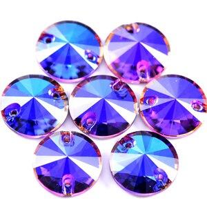 ААААА качество 40 шт 12 мм Фиолетовый Синий Круглый стакан Rivoli пришить Стразы Кристалл шитье страз для DIY свадебное платье B1245