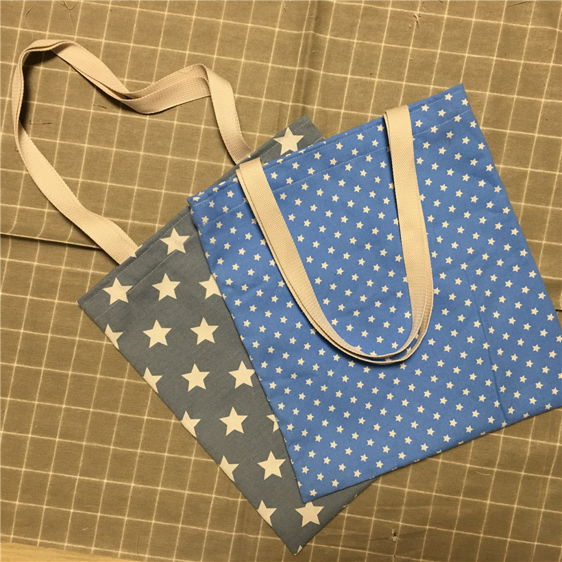 1Pc Cotton Canvas Eco Shopping Tote Shoulder Bag White Stars Blue Grey Base To Choose From L8503-4