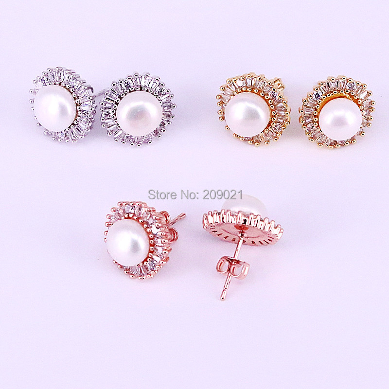 Fashion 8Pair Nature Pearl Round Design Stud Earrings CZ Zircon Micro pave charm earrings for women