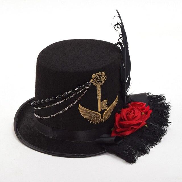 Шляпа в стиле стимпанк с розами и пером 2