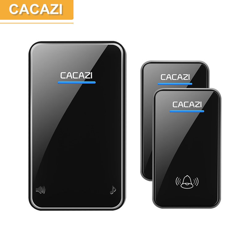CACAZI wireless doorbell newest waterproof LED AC 100-240V door bell 300M remote 48 rings 6 volume door chime EU/US/UK/AU plug us eu uk au plug ip door camera eye hd 720p wireless doorbell wifi video peephole wifi door camera 100 240v ac 75 73 27mm