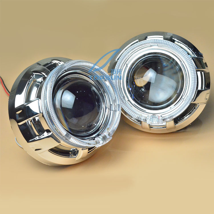 Kit de lentille de pièces d'auto de voiture HID 3.0 pouces BI-XENON Q5 HID lentille de projecteur H1 H7 ampoule au xénon avec LED yeux d'ange et carénages