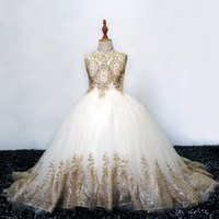 gold little girls prom dresses long kids evening ball gown deguisement enfant fille lace beaded fluffy party dress for girls