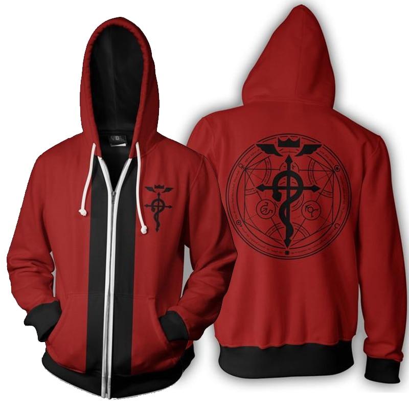 Fullmetal Alchemist Edward Elric's Autumn Zipper Jacket Hoodie Coat Anime Cosplay Sweatshirts Tracksuits Tops Clothes Drop Ship