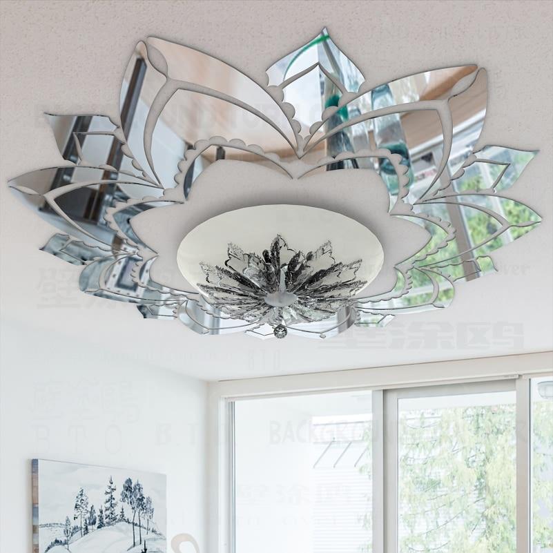 מקושט פרחים דקורטיבי מדבקות תקרת מדבקות קיר מראה אקריליק 3d עיצוב חדר שינה סלון קישוט חדר מדבקות R042