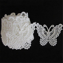 Винтажная вышитая аппликация с белыми бабочками и кружевной каймой, 1 м, швейная ткань Ремесленная одежда, аксессуары, принадлежности для ск...