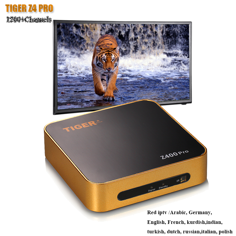 цена на TIGER Z400PRO Arabic IPTV With 1200+ Channels Free 1 Year Satellite TV Receiver Europe channels over 700 channels