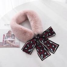MIARA.L fur collar bow ribbon stitching furry scarf female winter Korean style of the wild leopard fake for ladies