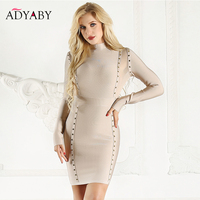 Long Sleeve Dress Women Bandage Club Wear Celebrity Party Dress Sexy Fashion Spring 2019 Buttons Patchwork Mesh Bodycon Dresses