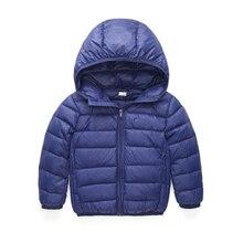 2017 Бренд Ultra light детские Девушки парни Реальные 90% утка вниз куртка пальто для Весна Осень зима детская одежда cap and pocket