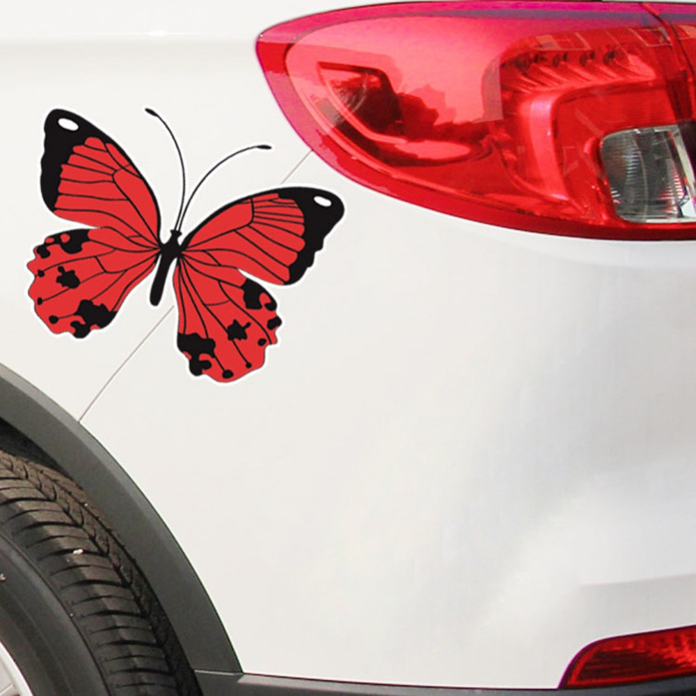 Butterfly car stickers black red blue scratch mask waterproof front bar bumper wall window decorative sticker symbol of love new in car stickers from
