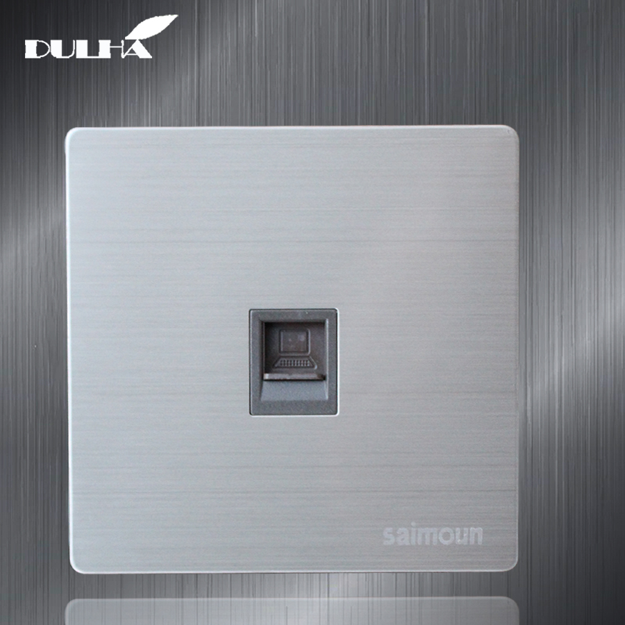 Single Port Computer Wall Data Socket Electric RJ45 Network Internet Jack Cat5 Plug Outlet Luxury Stainless Steel Satin Metal Single Port Computer Wall Data Socket Electric RJ45 Network Internet Jack Cat5 Plug Outlet Luxury Stainless Steel Satin Metal