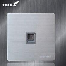 Single Port Computer Wall Data Socket Electric RJ45 Network Internet Jack Cat5 Plug Outlet Luxury Stainless Steel Satin Metal стоимость
