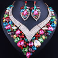 FARLENA Fashion Heart Shape Statement Crystal Necklace Earrings for Women Wedding Party Elegant Bridal Jewelry sets