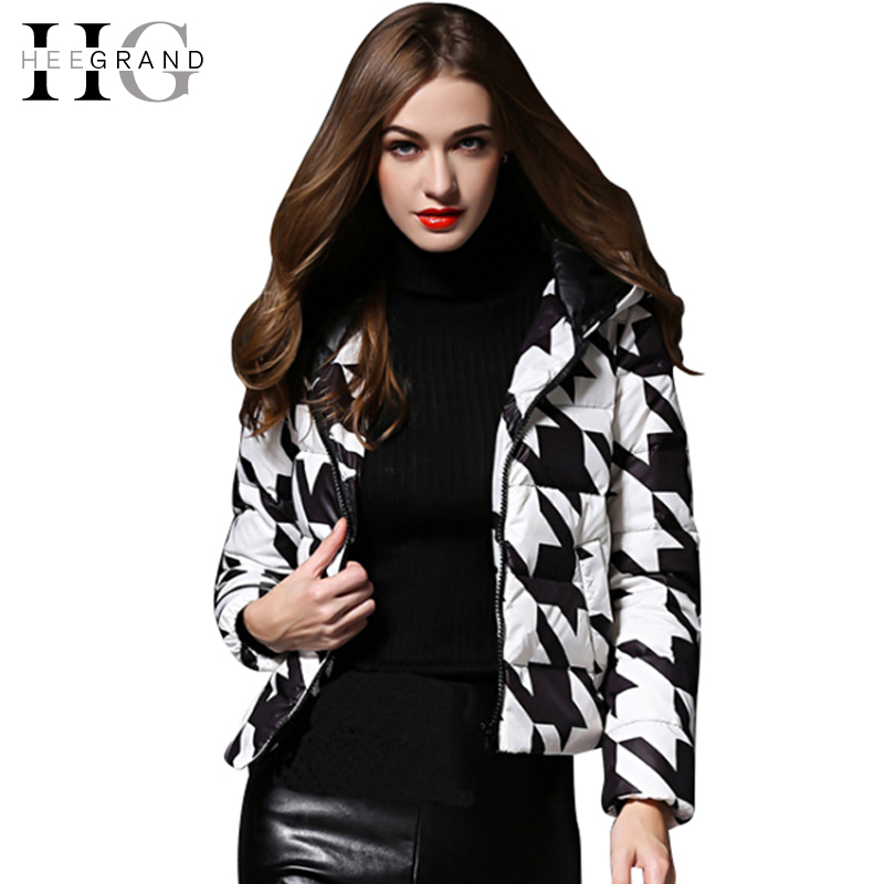 HEE GRAND Plaid Print Black White Duck Down Coat 2018 New Arrivals Slim Winter Jacket Women Hooded Fashion Manteau Femme WWY331