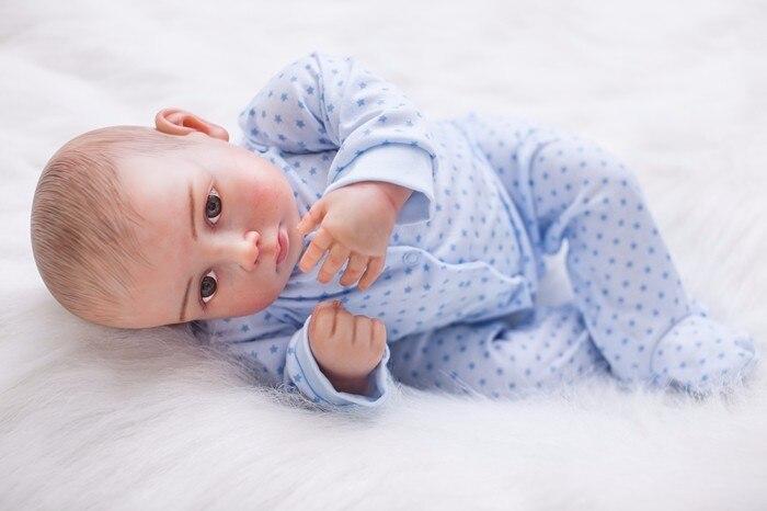 20 pouces nouveau-né reborn bébé poupée en Silicone souple peint à la main cheveux réel comme mignon bambins enfants présente jouer maison poupée à vendre