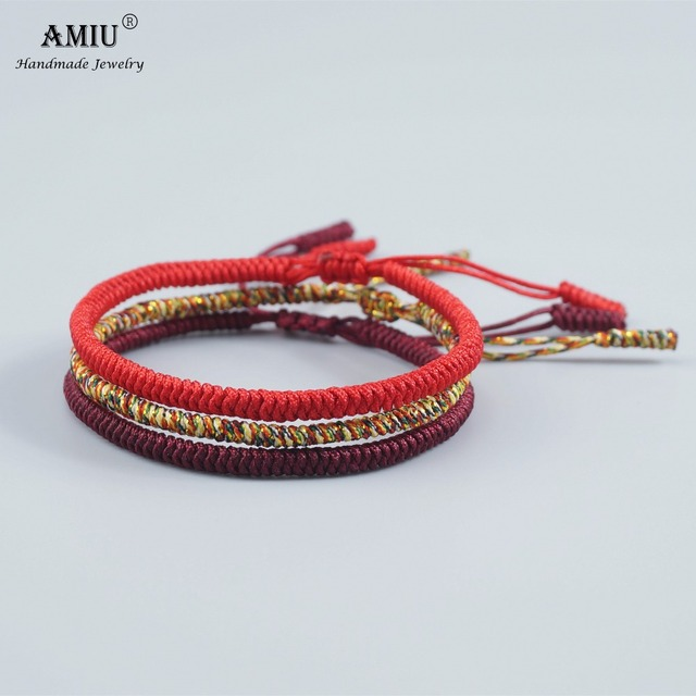 Amiu 3pcs Multi Color Tibetan Buddhist Good Lucky Charm Bracelets Bangles For Women Men