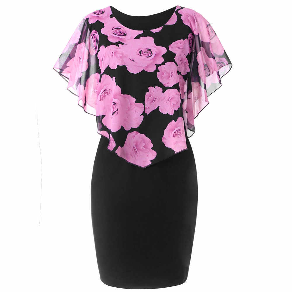 Plus Size Dress Fashion Womens Casual Ruffles O-Neck Rose Print Chiffon  Bodycon Mini Dresses 9fd55d400cd2