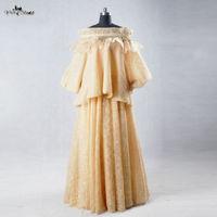 RSE618 Suudi Arabistan Müslüman Kadın Resimleri Elbise Sarı Akşam elbise