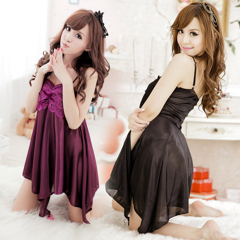 New 2016 Teddy Nice Purple Silkish Porn Sexy Night Gown Women Robe Sexy Lingerie Hot Sleepwear