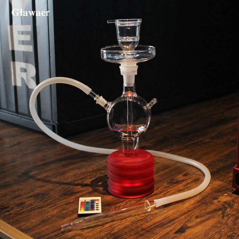 Glawaer Colorful Glass Shisha Hookah Silicone Hose LED Light Nargile Water Pipes Glass Tube Bowl