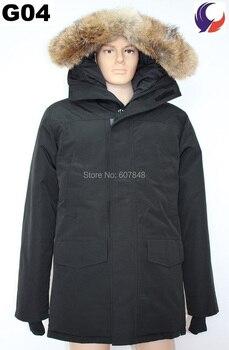 Nueva Marca MANASEAMON, abrigo de invierno de alta calidad para hombres, chaqueta de plumas para invierno de ganso Langford, abrigo, Gran Collar de piel de Coyote G04