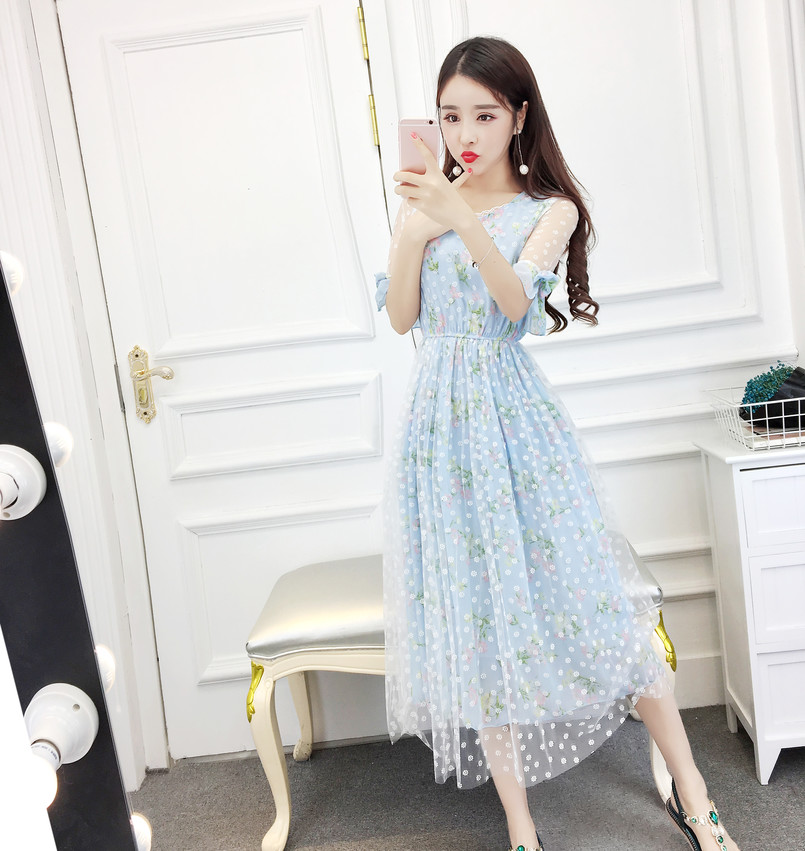 2e564a43520ec New Summer Women Long dress Bow Flare Sleeve Palace Silk Fairy Dresses Pink  Light Blue Yu Golden 8521