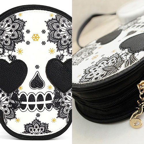 Women s Faux Leather Vintage Skull Coin Purse Handbag Messenger Shoulder Bags