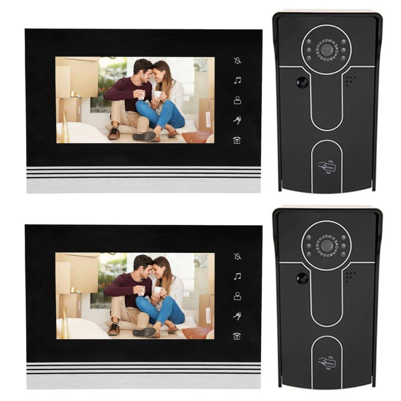 7 Inch Wired Touch LCD Screen Colorful Video Door Bell Infrared Night Vision Camera Home Doorbell EU US Plug hd villa type wired video doorbell 7 inch color camera screen night vision doorbell with memory card