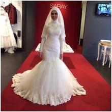 hijab wedding dresses high neck Mermaid floor length rabic Dubai Muslim Bridal Gowns online chinese store 2016