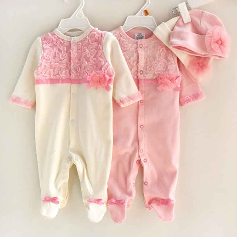 Newborn Bebe Baby Girls Rompers For 3 6 9 Month Babies Romper Set Suit For Girl Roupas Lace Pink White Long Sleeve Hat Flowers  цена