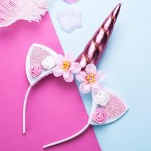 Ободки с единорогами милые девушки цветок повязки для волос кошачьи уши обруч для волос Детские головные повязки фото-реквизит вечерние Детские аксессуары для волос
