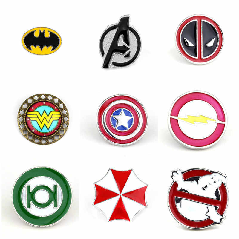 Marvel Pin Deadpool Ghostbusters Batman Bros Flash Captain America Superman Bros untuk Pria Lencana Topi Tie Tack Brocade