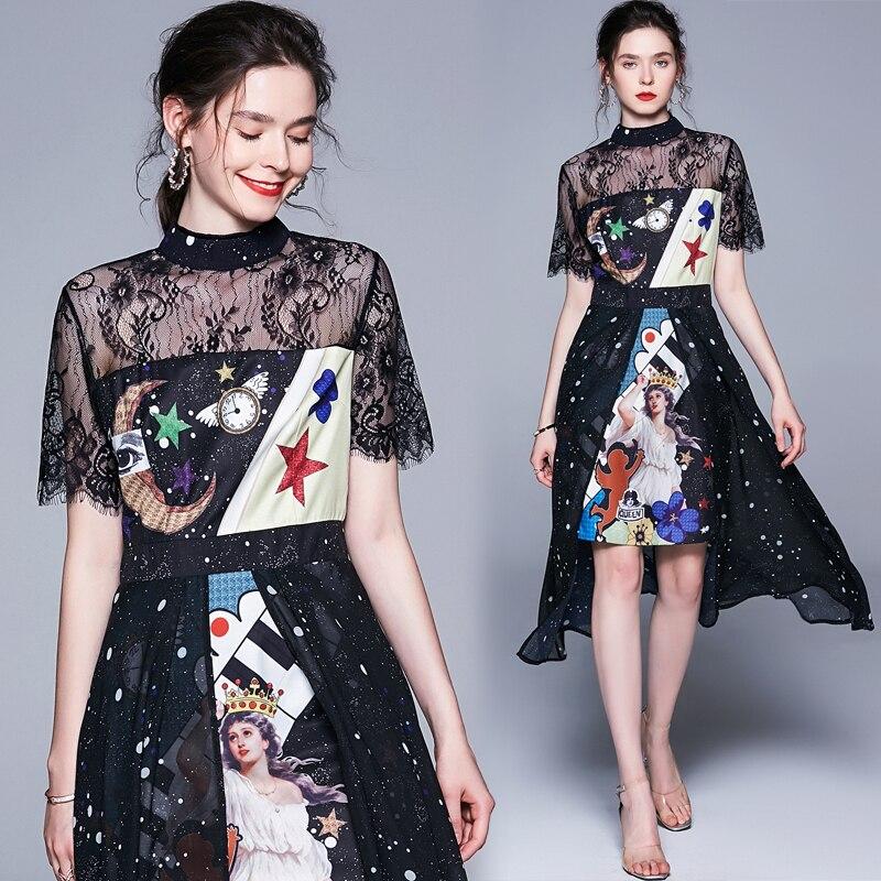 7315c41d5e 2019 New Women Summer Sleeve Dress Quality Retro Court Printing Shirt  Runway Dress Vintage Long ...