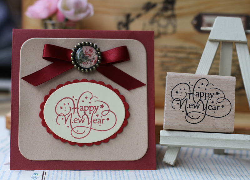handmade  happy new year 6*5cm wooden rubber clear stamps for scrapbooking carimbo timbri stempel wood silicone stamp te0192 garner 2005 international year of physics einstein 5 new stamps 0405