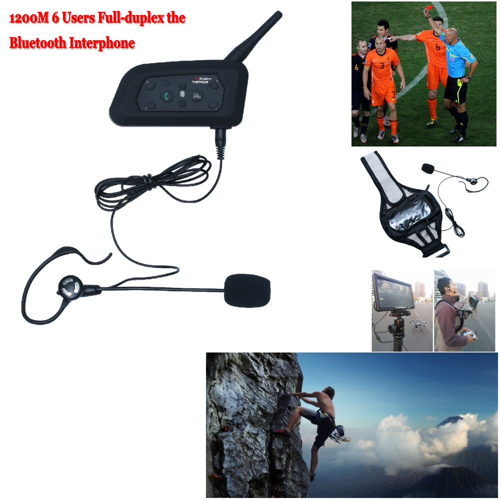 New 1200M Soccer Referee BT Intercom 2User Interphone Headset Support Max 6 Users Full duplex the