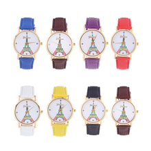 Woman Colorful Watch Girl Luxury PU Leather Quartz Wristwatch Ladies Round Dial Eiffel Tower Dress Decoration Watches D40