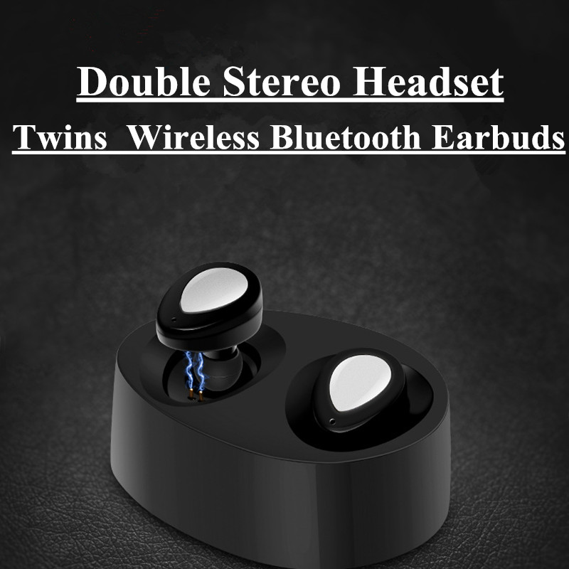 Mini Twins Wireless Bluetooth Earphones Stereo Earbuds Headset Invisible Double Earpiece in Ear Headphones For iPhone Samsung portable stereo headphone mini invisible wireless bluetooth v4 1 surround sound earbuds earphones in ear headset with microphone