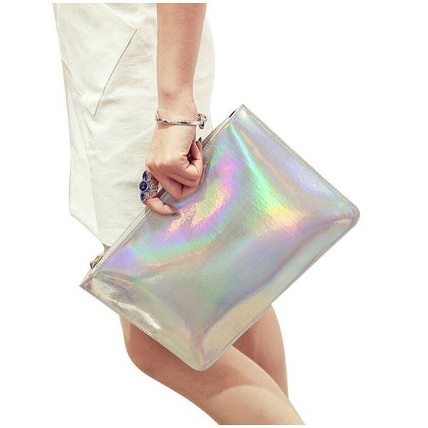 Holographique Laser PU Briller en cuir Sac À Main Messenger Sac Enveloppe D'embrayage de Soirée blanc