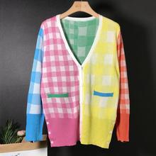 Вязаный женский кардиган с v-образным вырезом и контрастным цветным воротником, свободный тонкий свитер