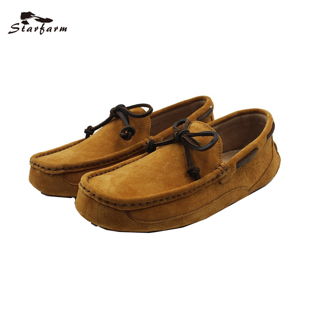 STARFARM Genuine Leather Loafers Men Maroon Suede Doug Boat Shoes Moccasins Shoes Chic Cowhide Shoelace back to School loafers справочник школьника по биологии 6 11 классы