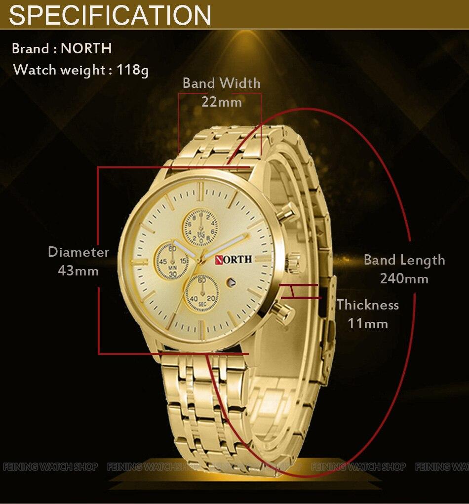 Βόρεια Brand Χρυσό ρολόι ανδρών - Ανδρικά ρολόγια - Φωτογραφία 2