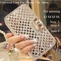 Para iphone 7 cristal diamante wallet leather flip case capa para iphone 6 6 s plus 5S se capa de luxo para samsung galaxy s7 note 7