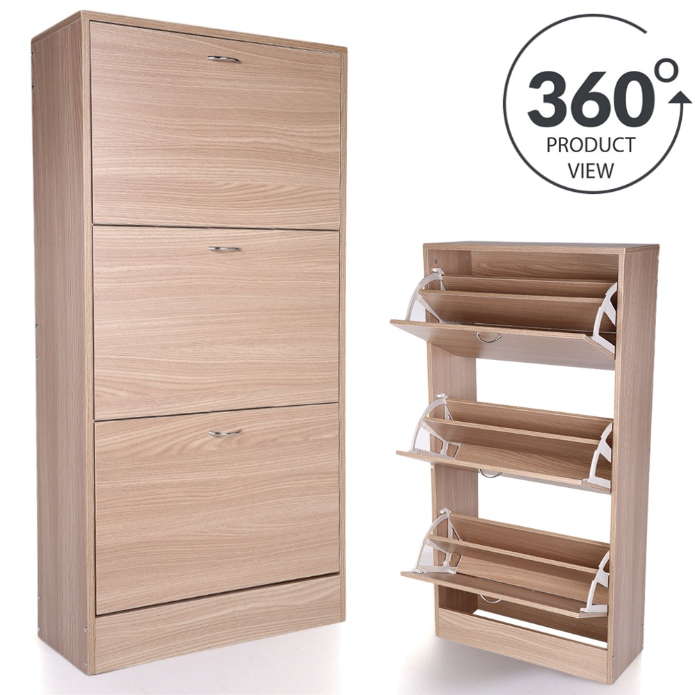 360 degree 3 Drawer Wood Shoe Storage Cabinet Footwear Rack Unit For Home Living Room Home Decorative Furniture 12 grid diy assemble folding cloth non woven shoe cabinet furniture storage home shelf for living room doorway shoe rack