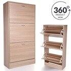 360 degree 3 Drawer Wood Shoe Storage Cabinet Footwear Rack Unit For Home Living Room Home Decorative Furniture