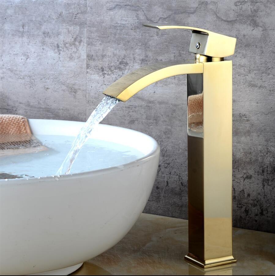 Gold/Chrome Basin faucet brass bathroom faucet single handle torneiras para pia de banheiro sink Wash faucet waterfall faucet ouboni hot sale bathroom basin faucet chrome brass mixer tap jn6116h led waterfall spout torneiras para banheiro